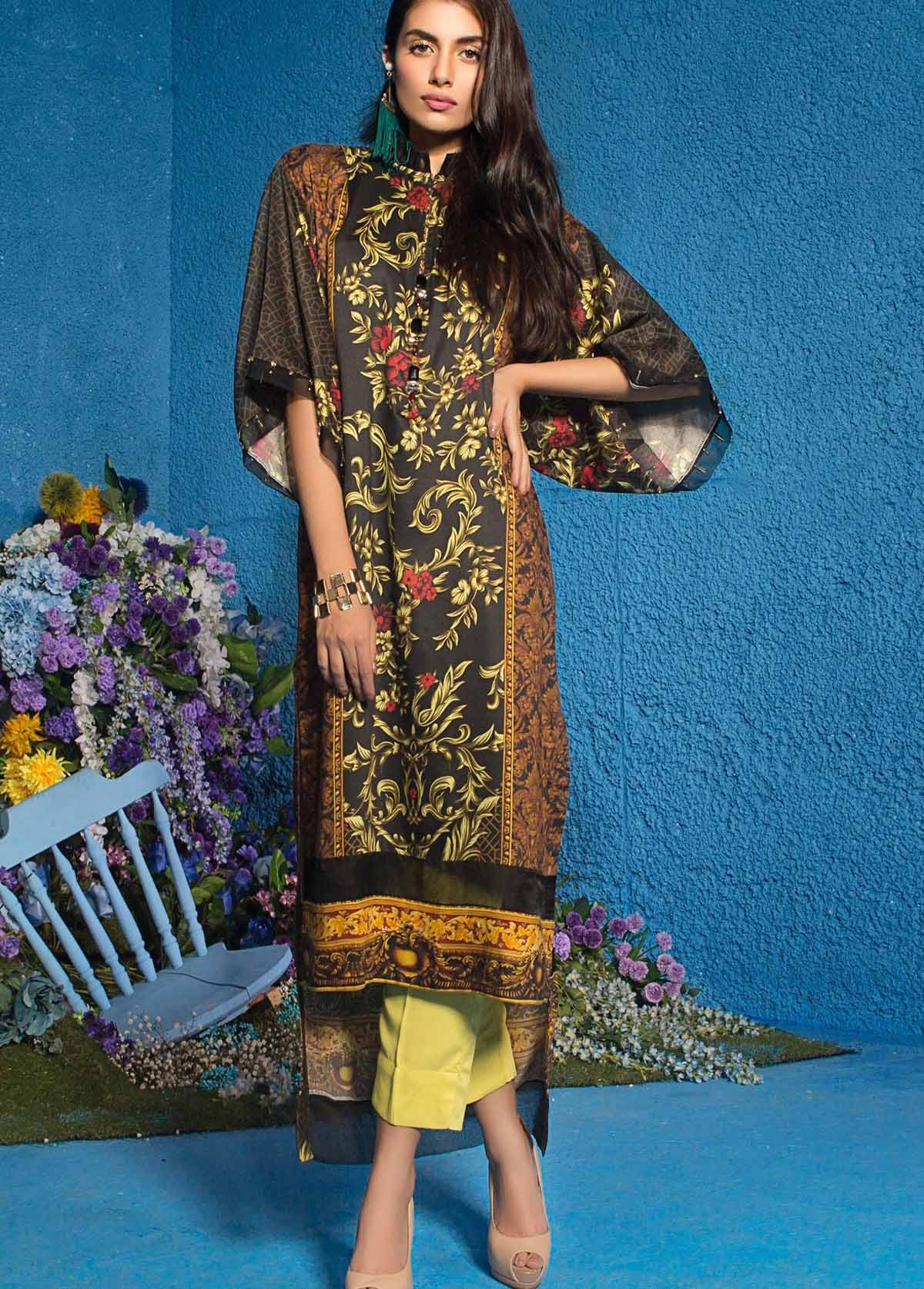 Al Karam Printed Viscose Unstitched 3 Piece Suit AK17W 18 Black