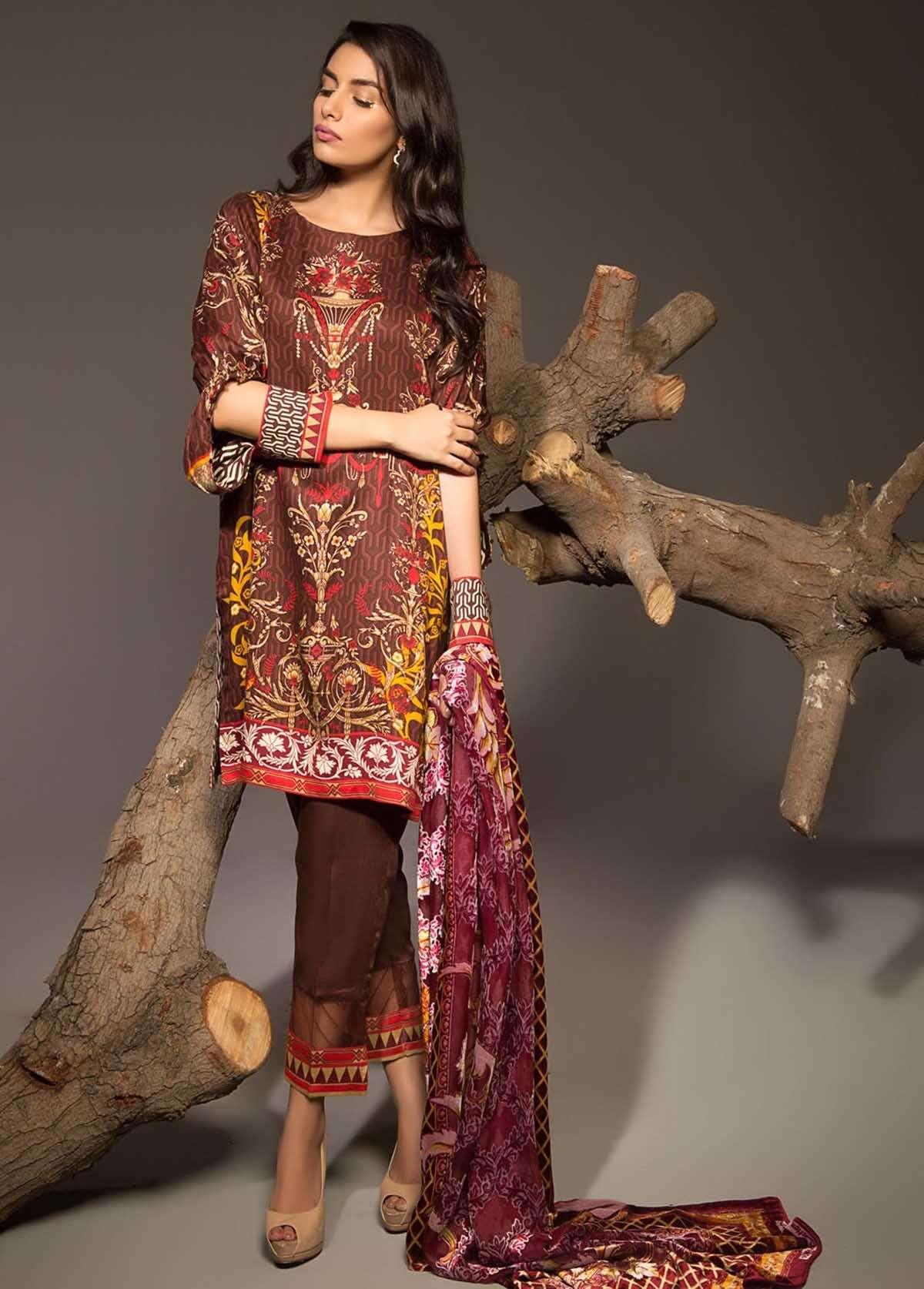 Al Karam Embroidered Linen Unstitched 3 Piece Suit AK17W 18 Brown