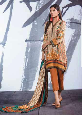 Al Karam Embroidered Linen Unstitched 3 Piece Suit AK17W 19 Beige