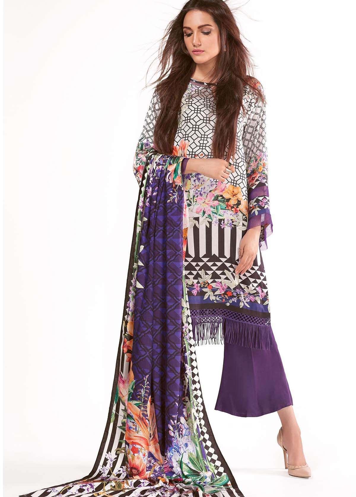 Al Karam Embroidered Linen Unstitched 3 Piece Suit AK17W 23 Black