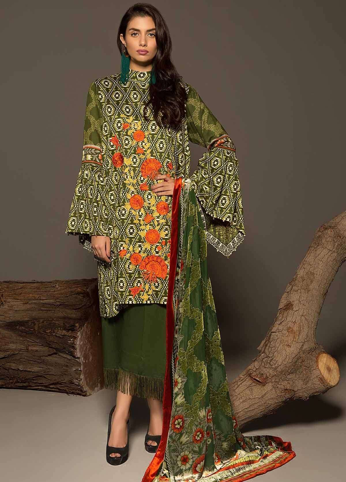 Al Karam Embroidered Linen Unstitched 3 Piece Suit AK17W 28 Green