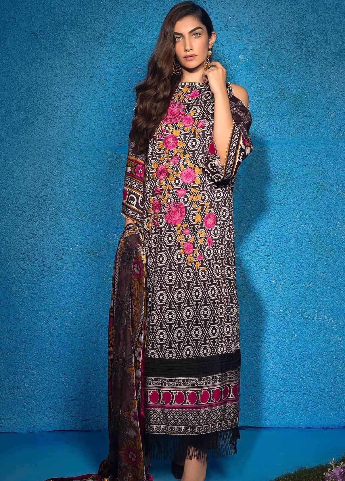 Al Karam Embroidered Linen Unstitched 3 Piece Suit AK17W 28 Lilac