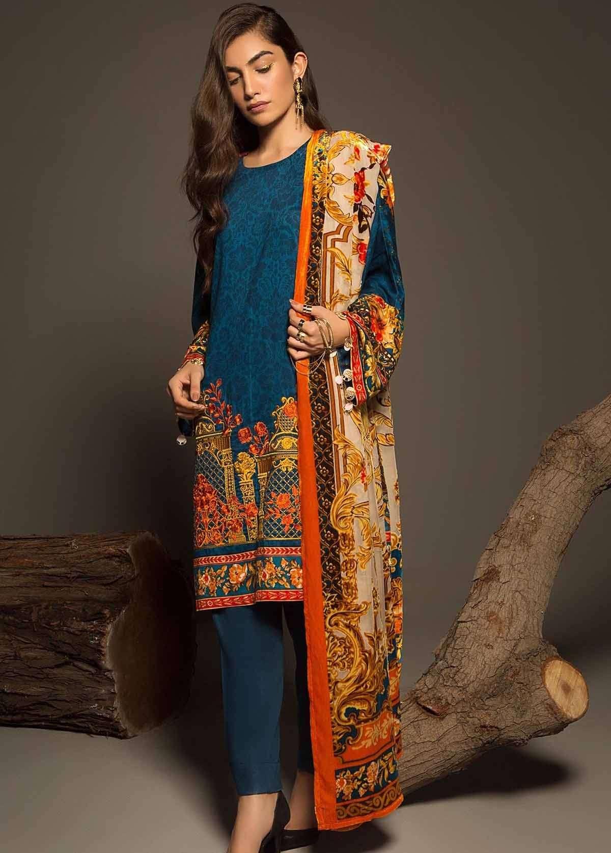 Al Karam Embroidered Linen Unstitched 3 Piece Suit AK17W 29 Blue