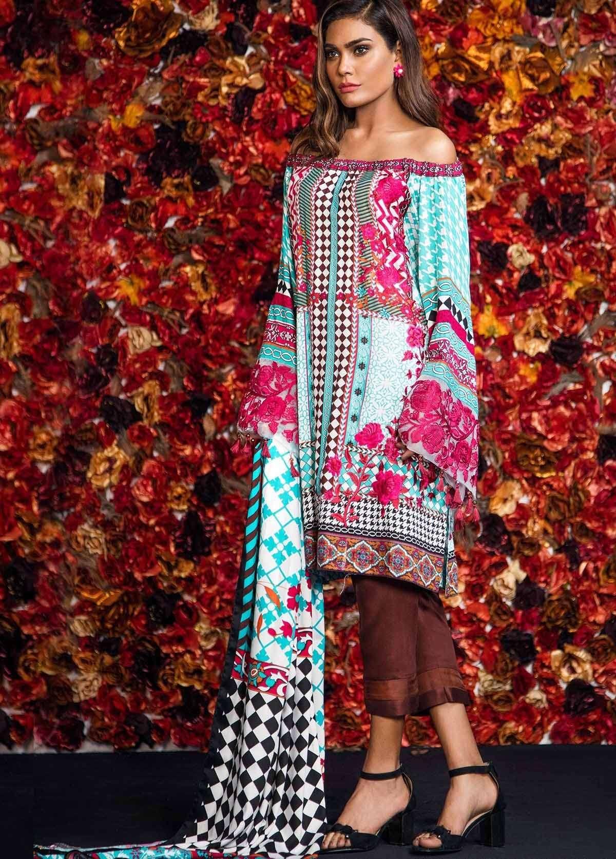 Al Karam Embroidered Linen Unstitched 3 Piece Suit AK17W 30 Blue