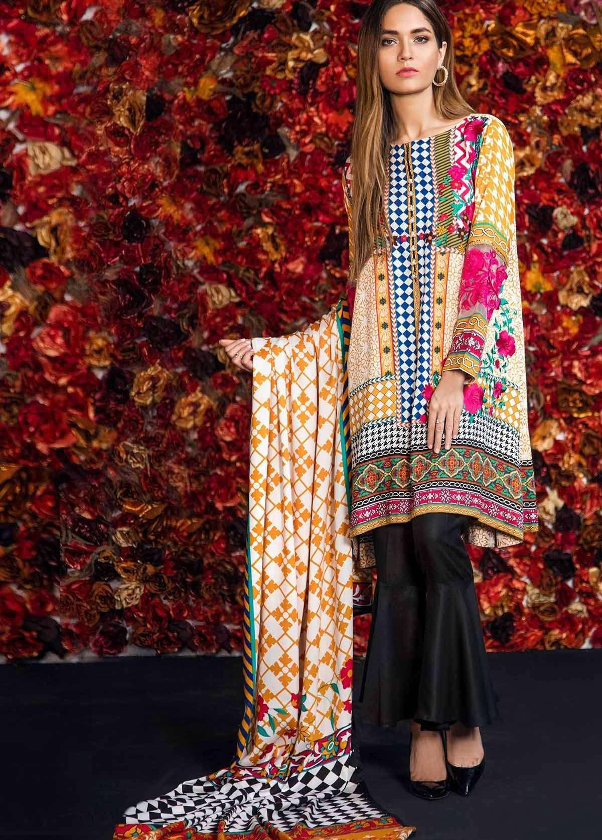 Al Karam Embroidered Linen Unstitched 3 Piece Suit AK17W 30 Yellow