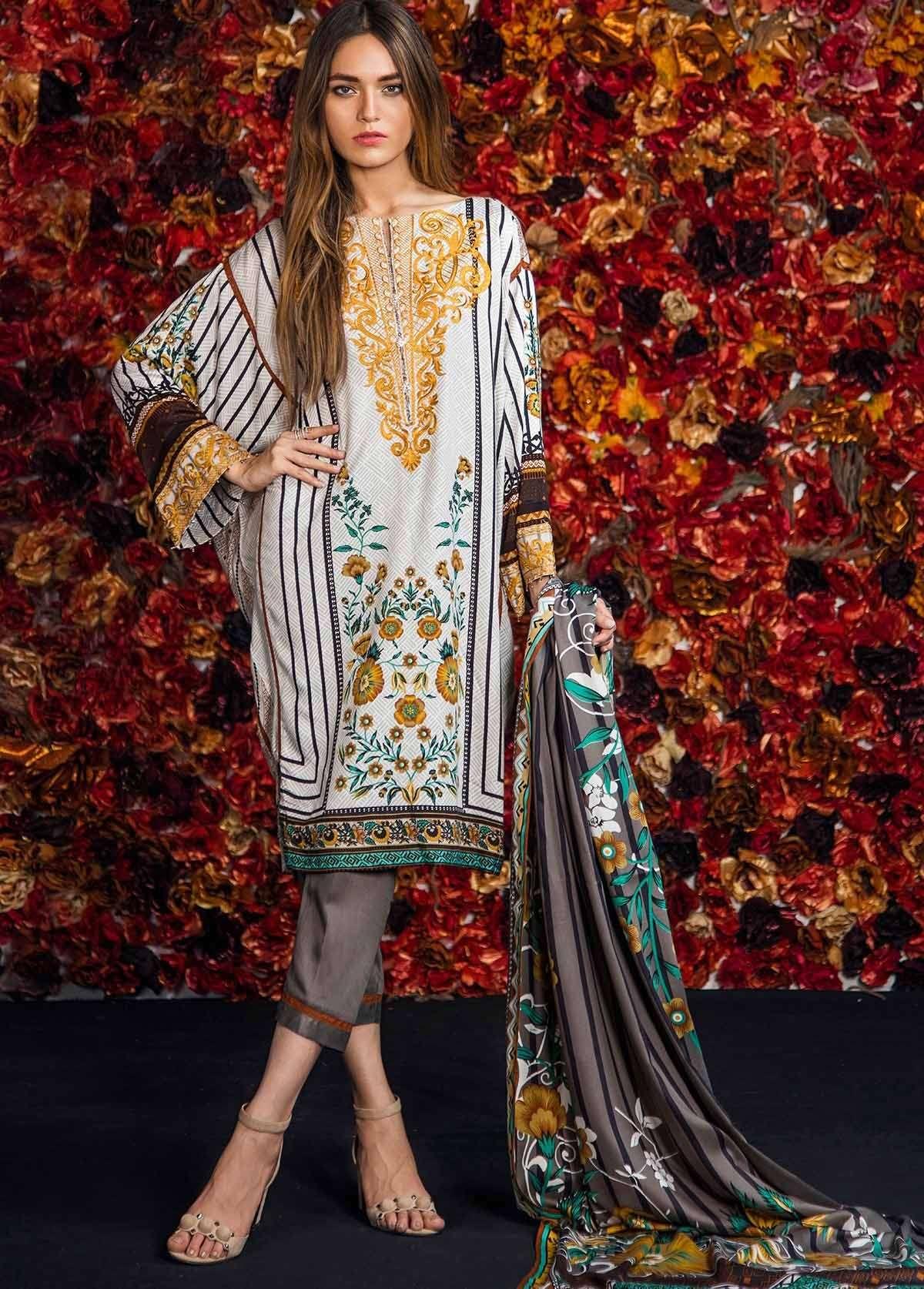 Al Karam Embroidered Linen Unstitched 3 Piece Suit AK17W 31 Olive