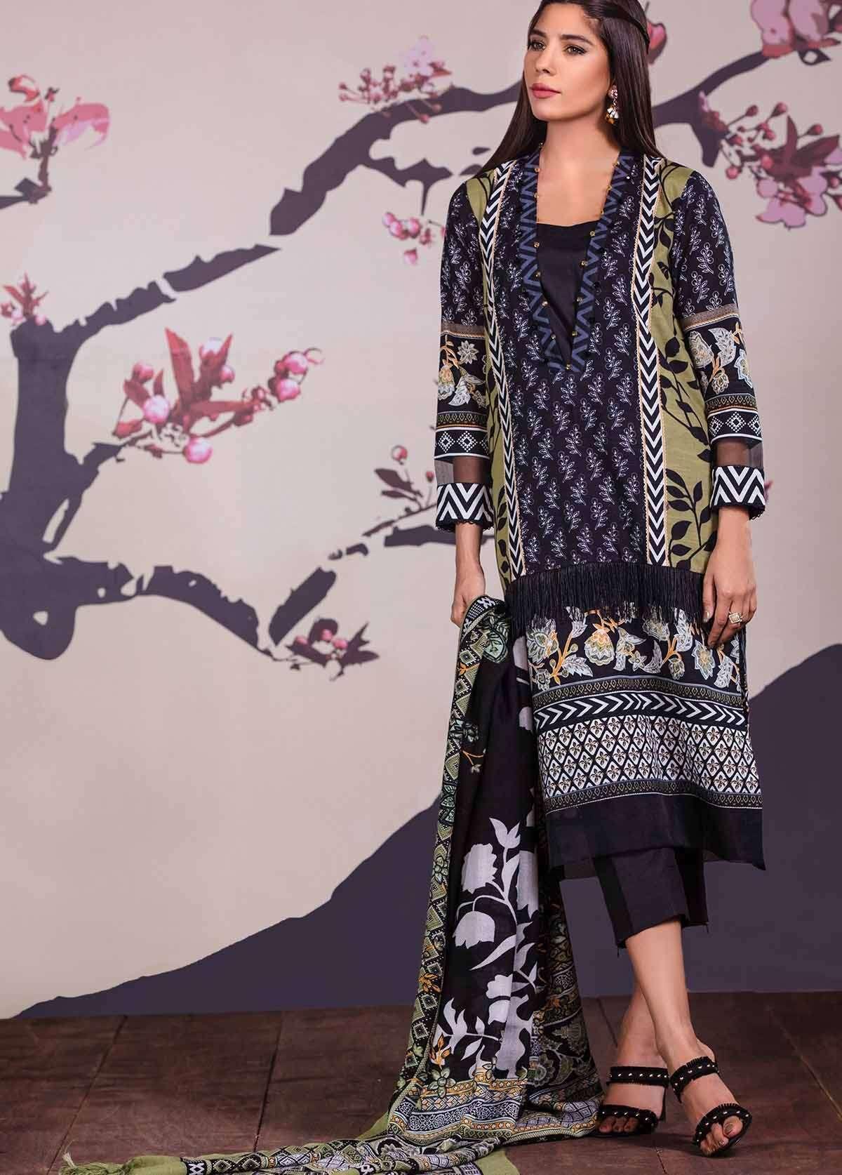 Al Karam Embroidered Linen Unstitched 3 Piece Suit AK17W 32 Green
