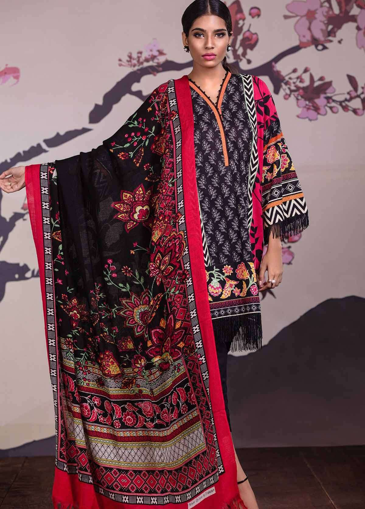 Al Karam Embroidered Linen Unstitched 3 Piece Suit AK17W 32 Red