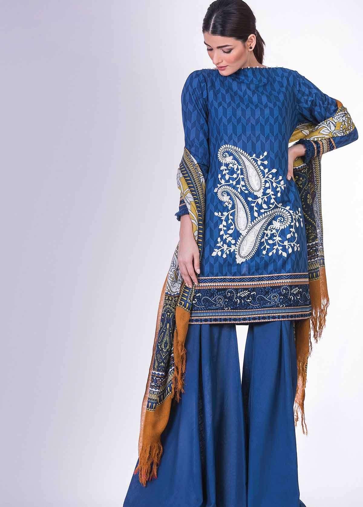 Al Karam Embroidered Linen Unstitched 3 Piece Suit AK17W 36 Blue