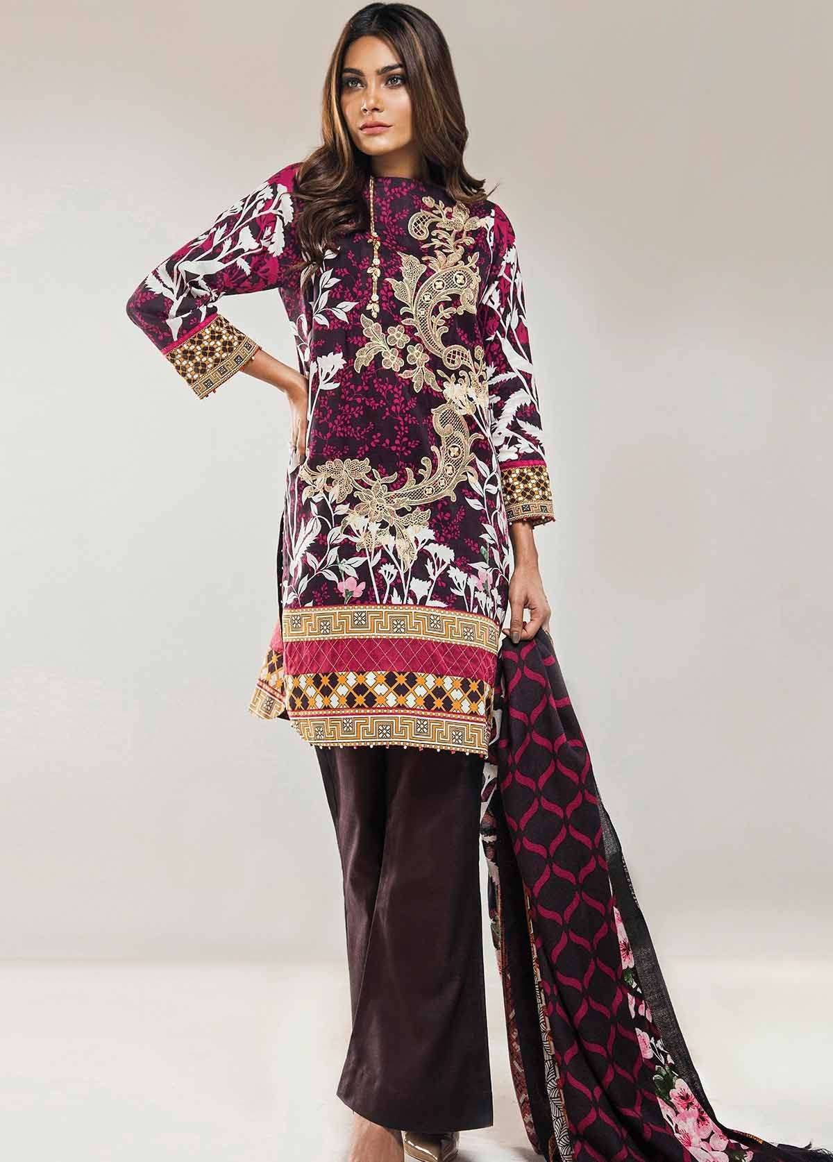 Al Karam Embroidered Khaddar Unstitched 3 Piece Suit AK17W 38 Brown
