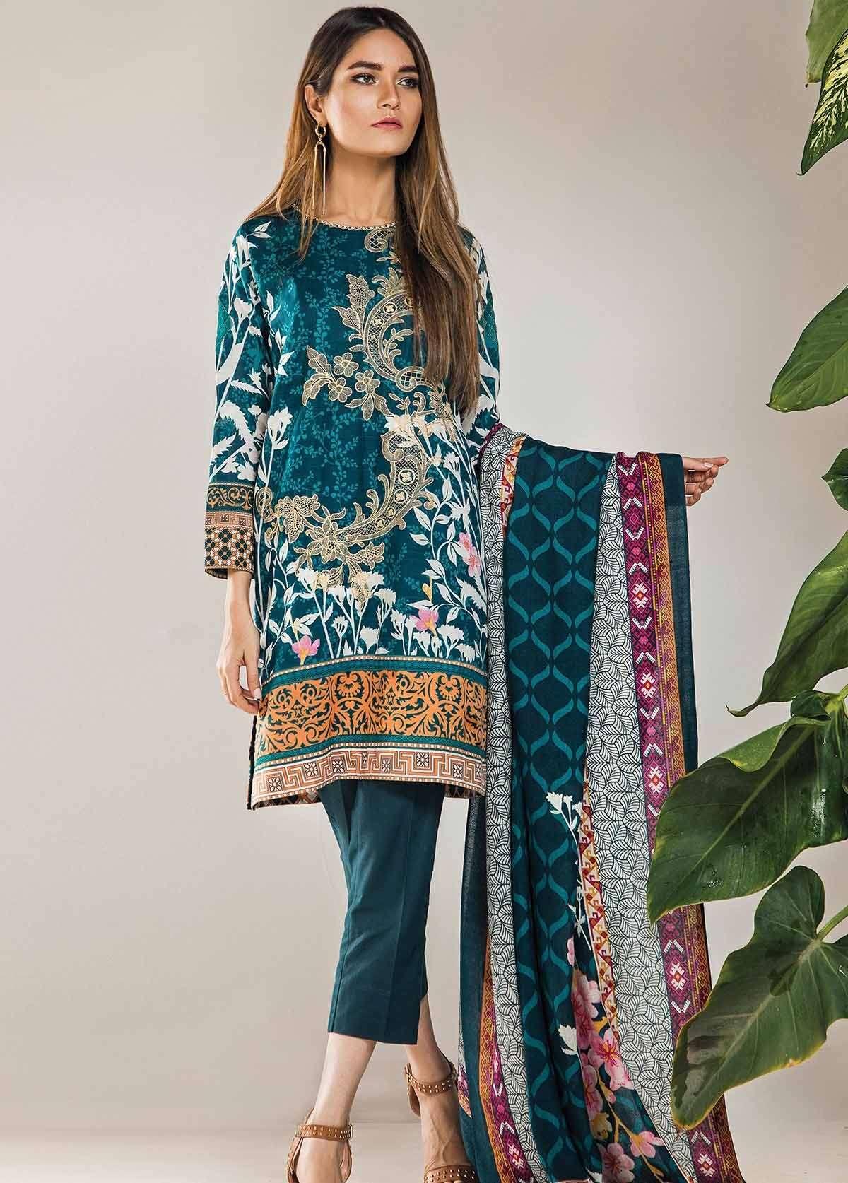 Al Karam Embroidered Linen Unstitched 3 Piece Suit AK17W 38 Teal