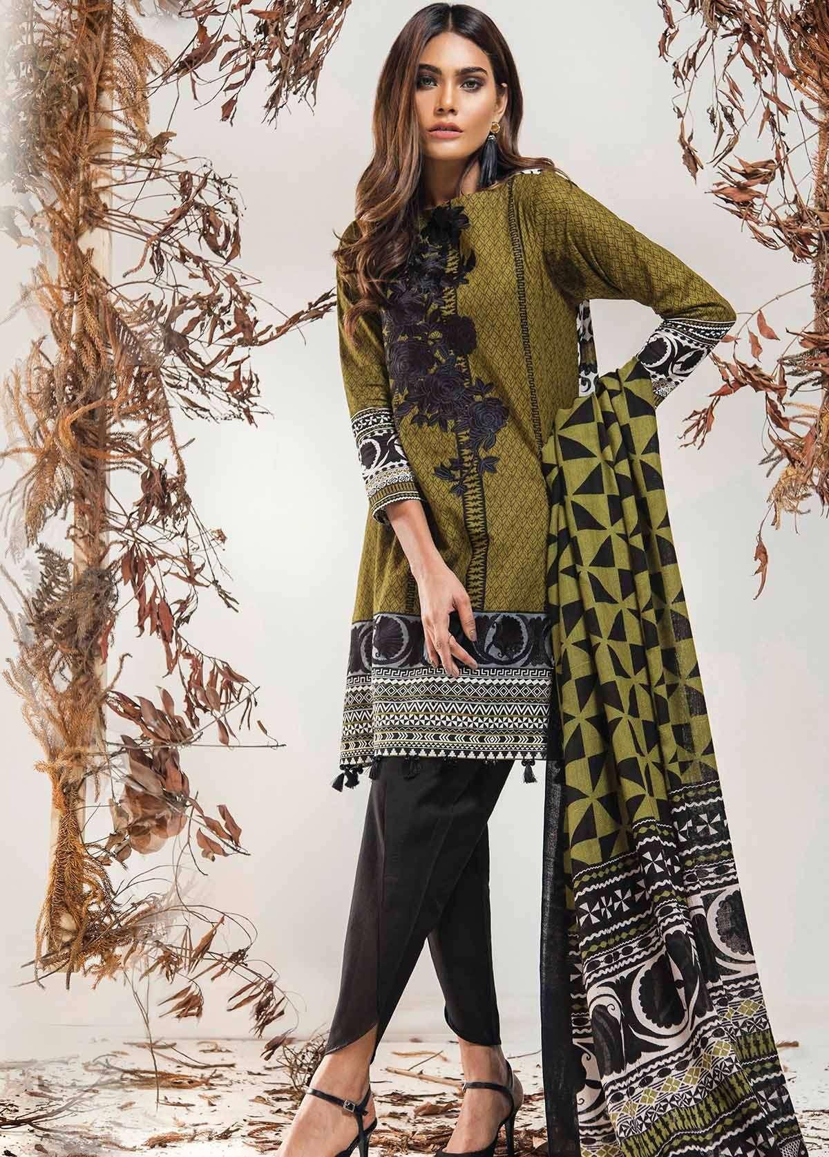 Al Karam Embroidered Linen Unstitched 3 Piece Suit AK17W 39 Green