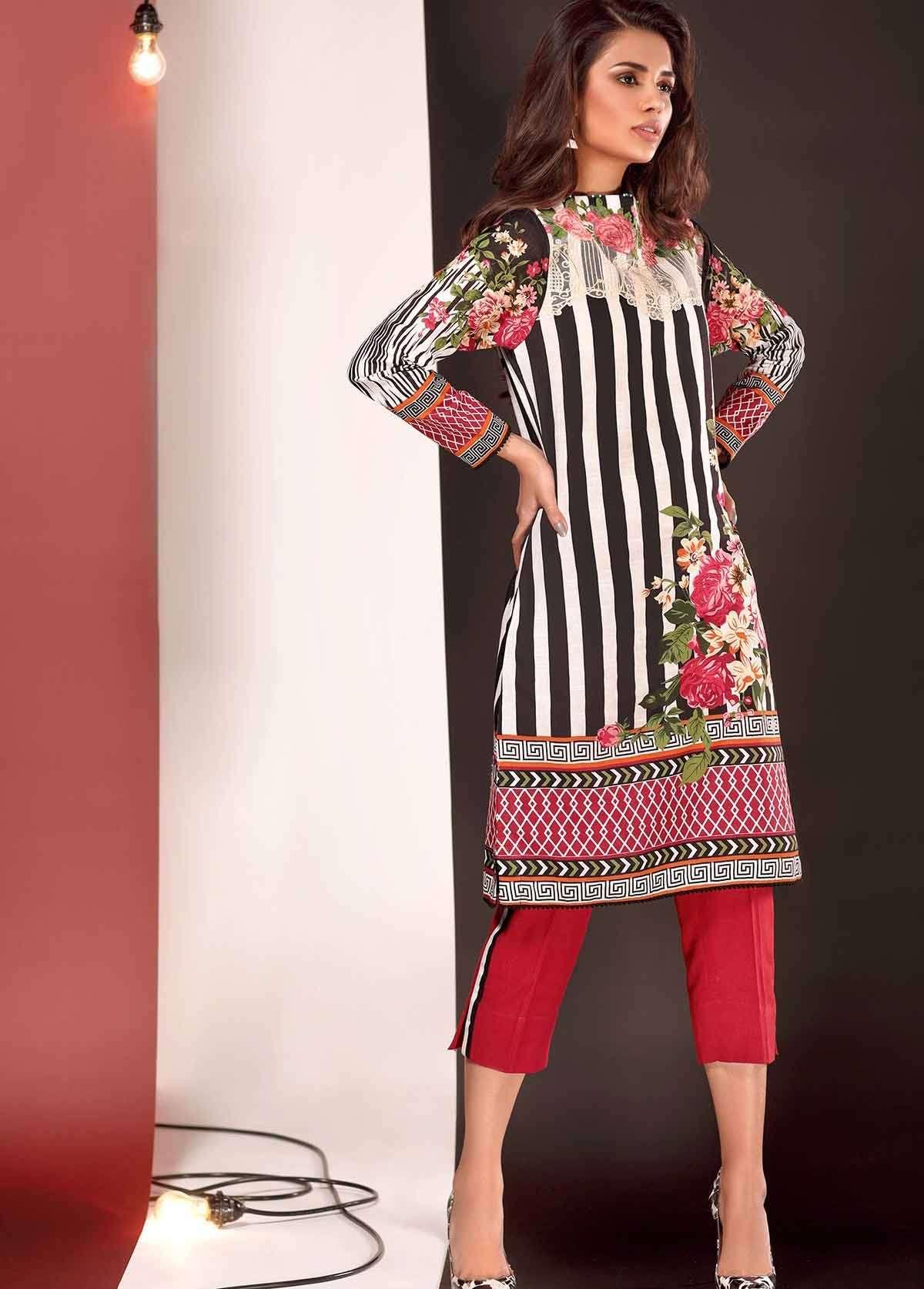 Al Karam Embroidered Linen Unstitched 3 Piece Suit AK17W 42 Black