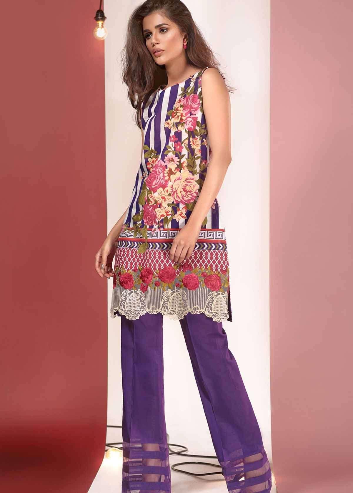 Al Karam Embroidered Linen Unstitched 3 Piece Suit AK17W 42 Purple