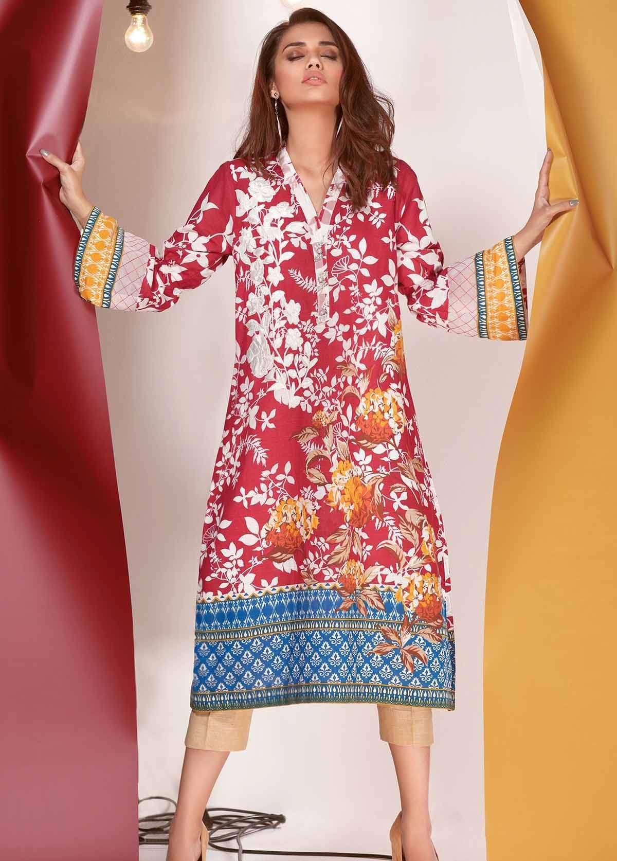 Al Karam Embroidered Khaddar Unstitched 2 Piece Suit AK17W 43 Red