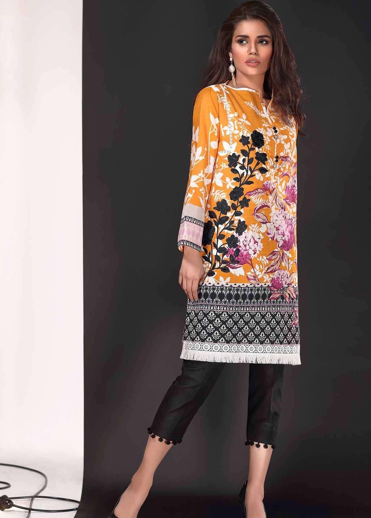 Al Karam Embroidered Linen Unstitched 3 Piece Suit AK17W 43 Yellow