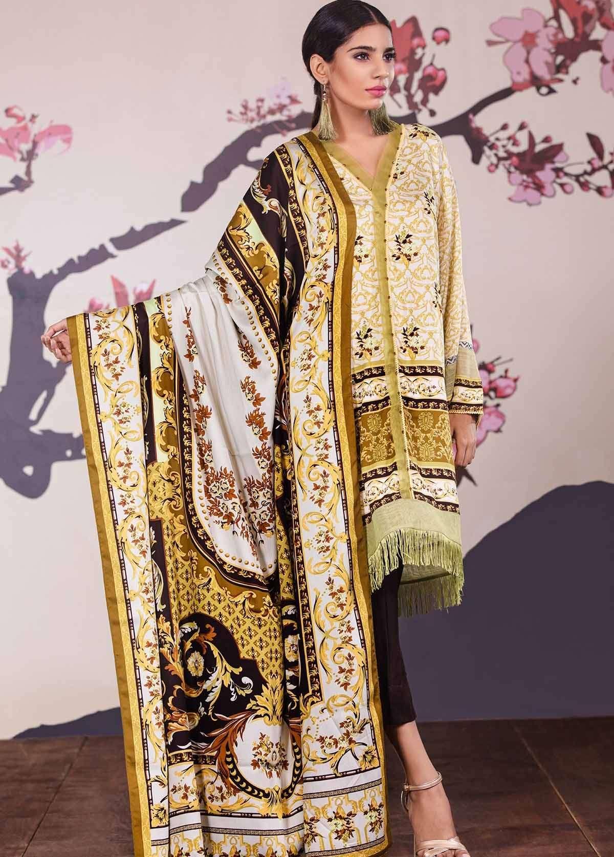 Al Karam Embroidered Linen Unstitched 3 Piece Suit AK17W 45 Green