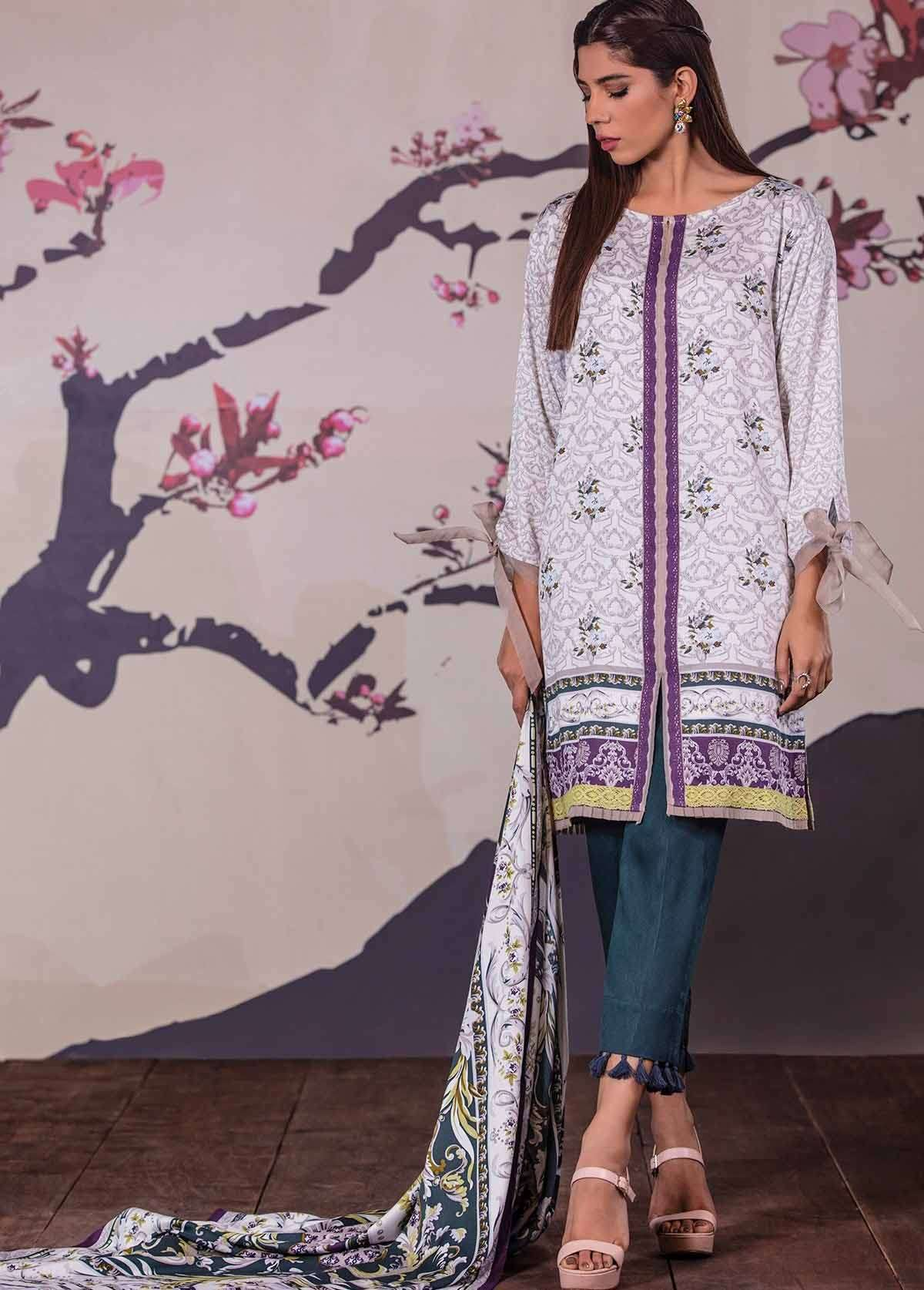 Al Karam Embroidered Linen Unstitched 3 Piece Suit AK17W 45 Grey