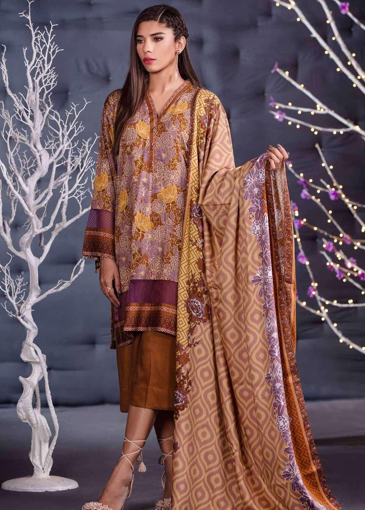 Al Karam Embroidered Linen Unstitched 3 Piece Suit AK17W 46 Brown