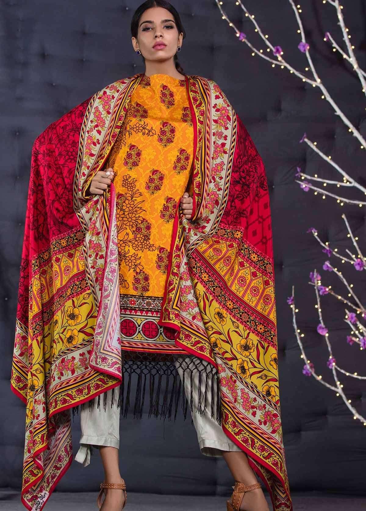 Al Karam Embroidered Linen Unstitched 3 Piece Suit AK17W 47 Orange