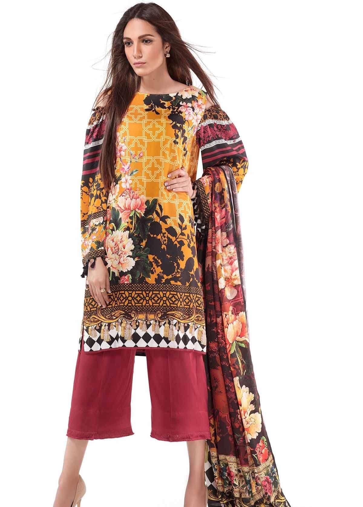 Al Karam Embroidered Linen Unstitched 3 Piece Suit AK17W 48 Yellow