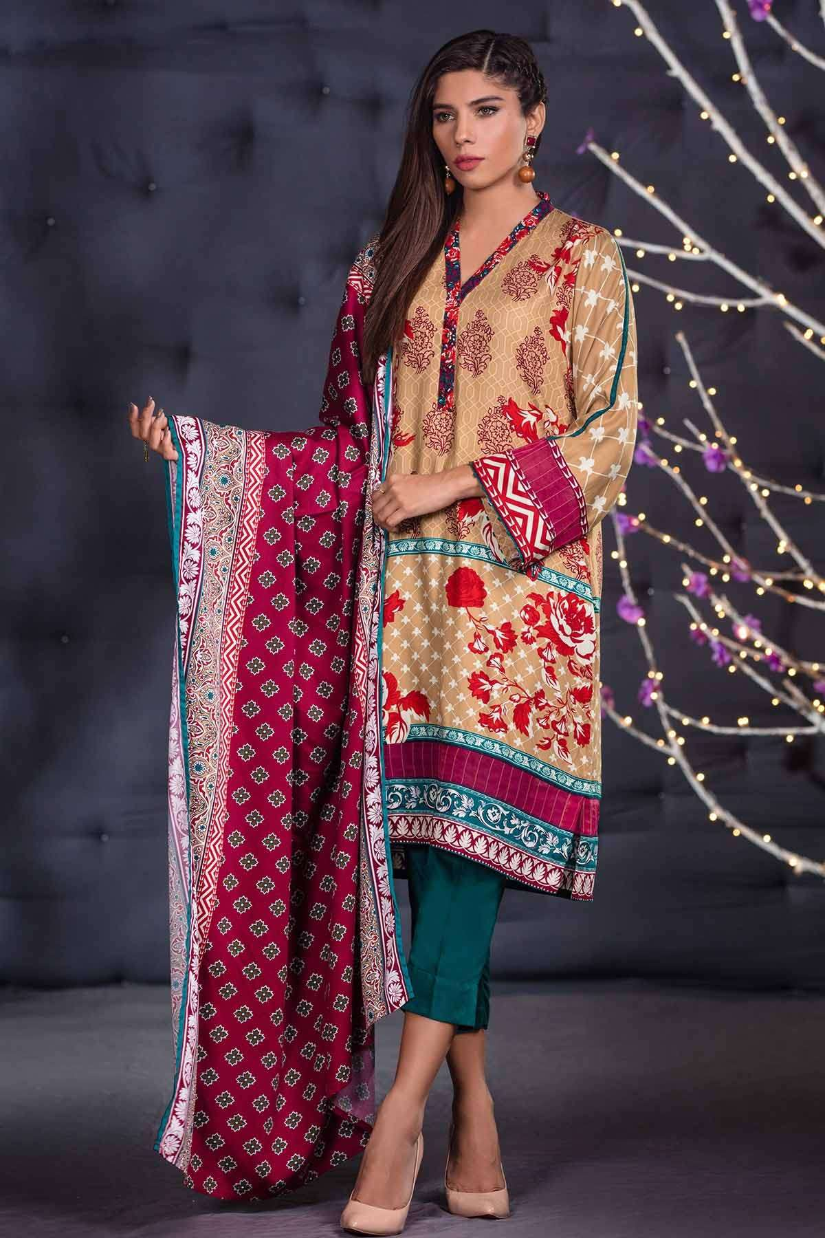 Al Karam Embroidered Linen Unstitched 3 Piece Suit AK17W 49 Brown