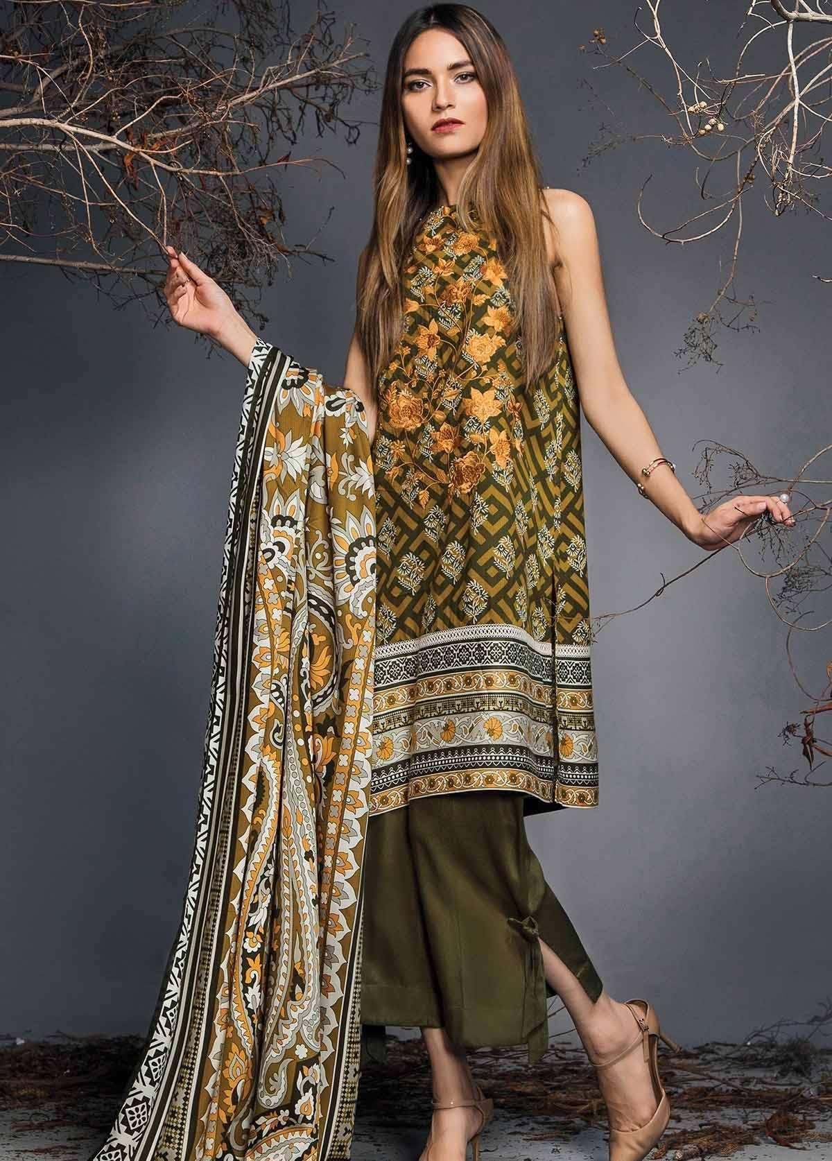 Al Karam Embroidered Linen Unstitched 3 Piece Suit AK17W 50 Olive