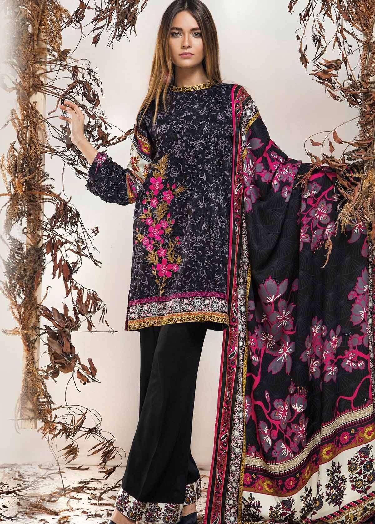 Al Karam Embroidered Linen Unstitched 3 Piece Suit AK17W 51 Black