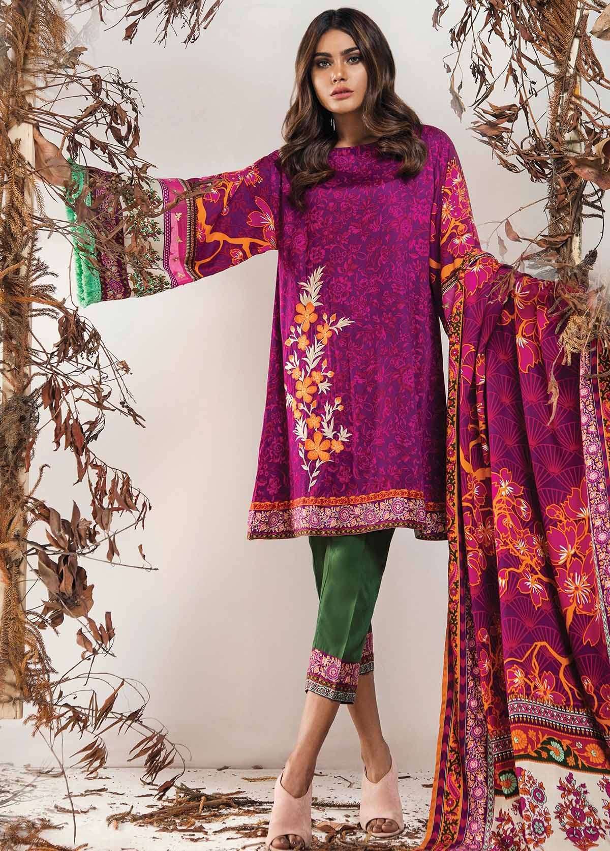 Al Karam Embroidered Linen Unstitched 3 Piece Suit AK17W 51 Fuchsia