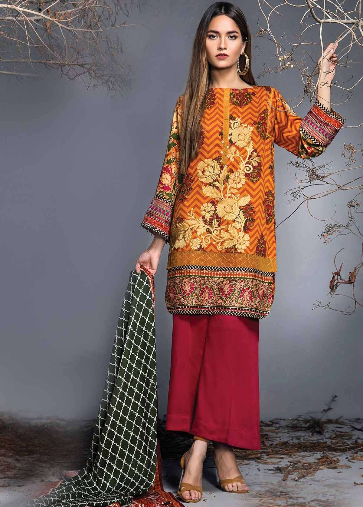 Al Karam Embroidered Linen Unstitched 3 Piece Suit AK17W 52 Orange