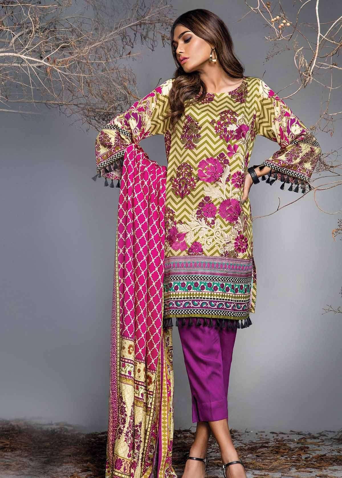 Al Karam Embroidered Linen Unstitched 3 Piece Suit AK17W 52 Pink