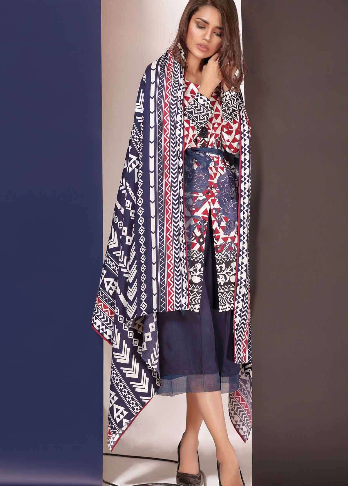 Al Karam Embroidered Linen Unstitched 3 Piece Suit AK17W 53 Red