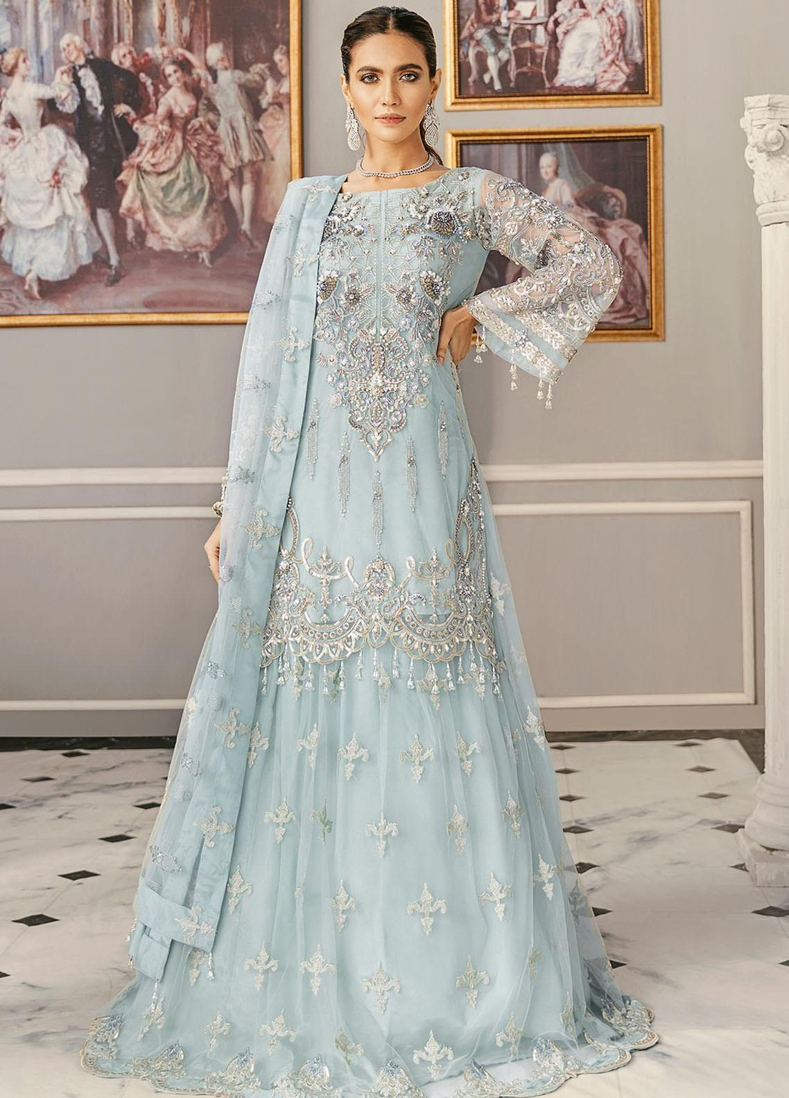 Akbar Aslam Embroidered Net Unstitched 3 Piece Suit AA21F AAWC-1327 - Formal Luxury Collection