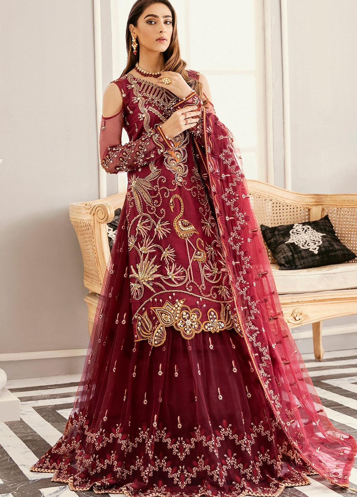 Akbar Aslam Embroidered Net Unstitched 3 Piece Suit AA21F AAWC-1328 - Formal Luxury Collection