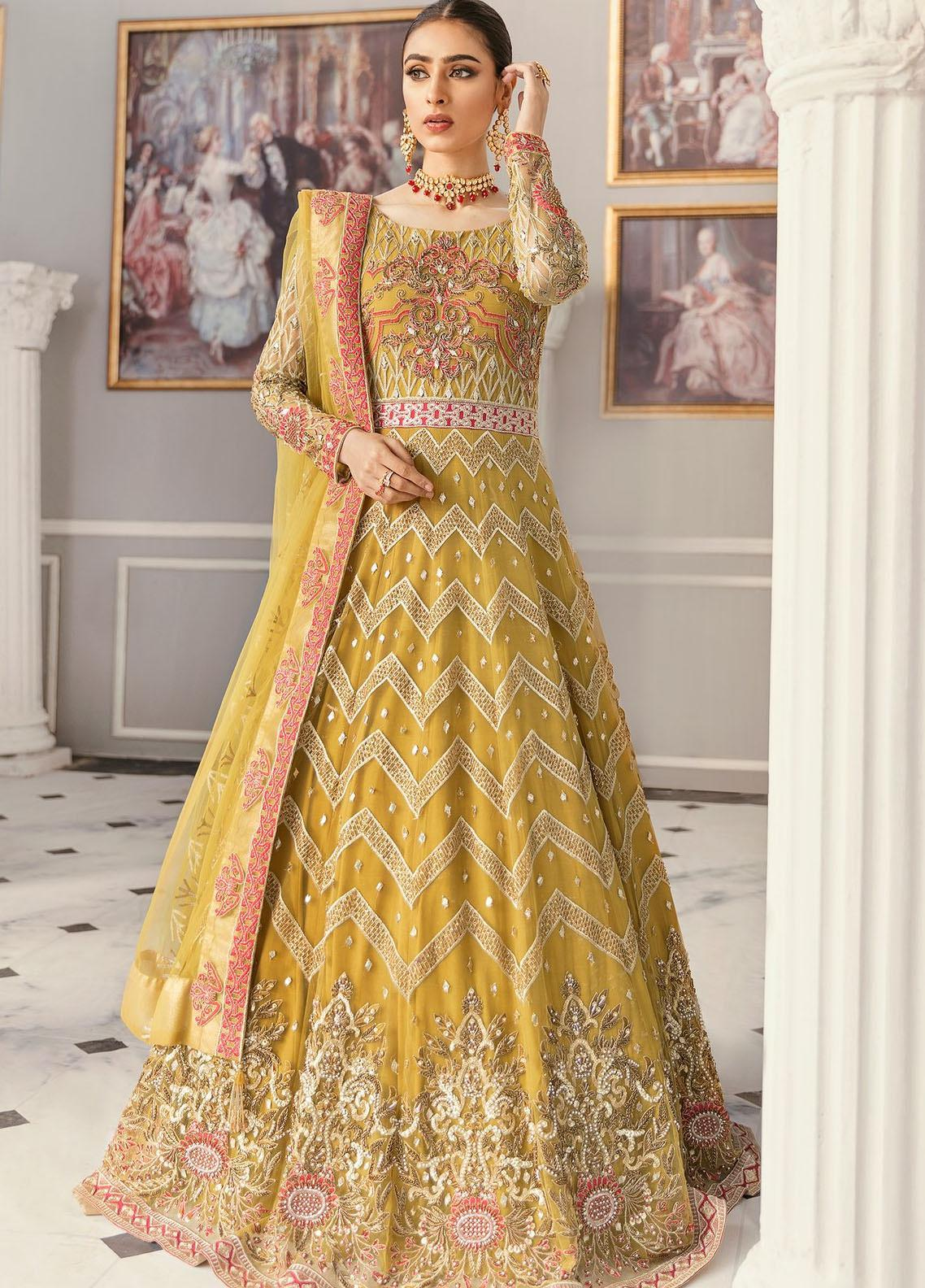 Akbar Aslam Embroidered Net Unstitched 3 Piece Suit AA21F AAWC-1330 - Formal Luxury Collection