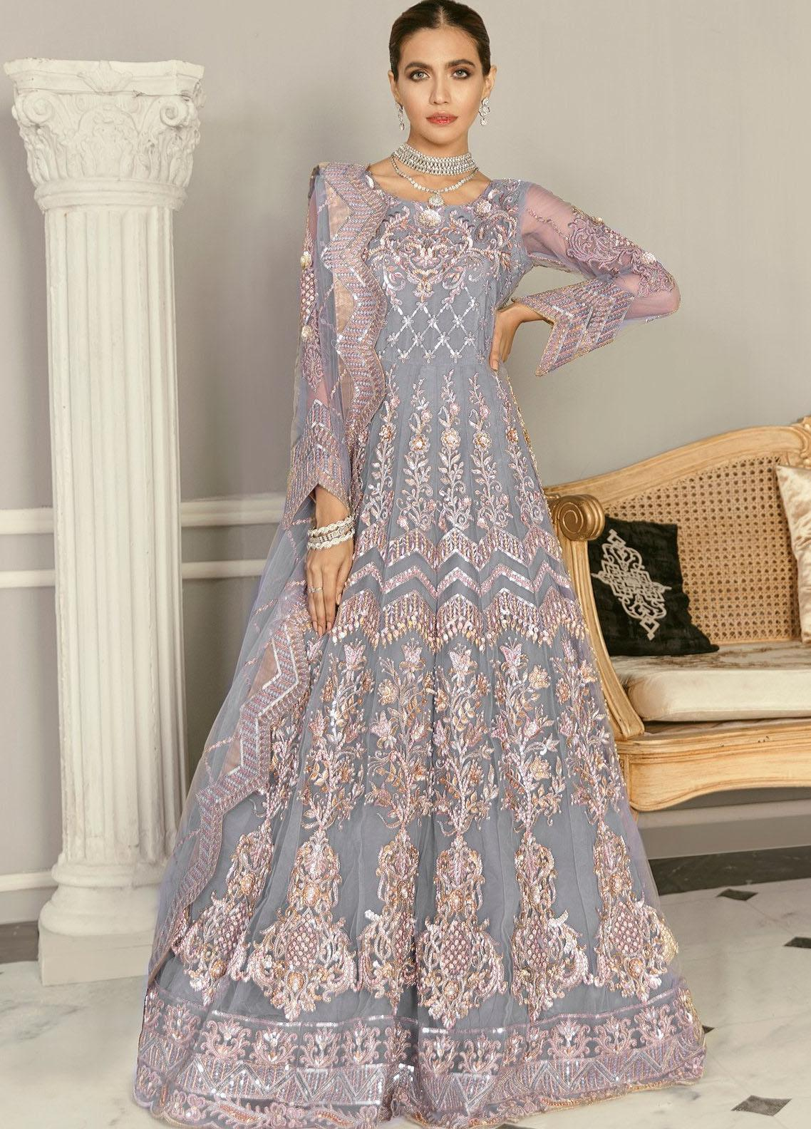 Akbar Aslam Embroidered Net Unstitched 3 Piece Suit AA21F AAWC-1340 - Formal Luxury Collection