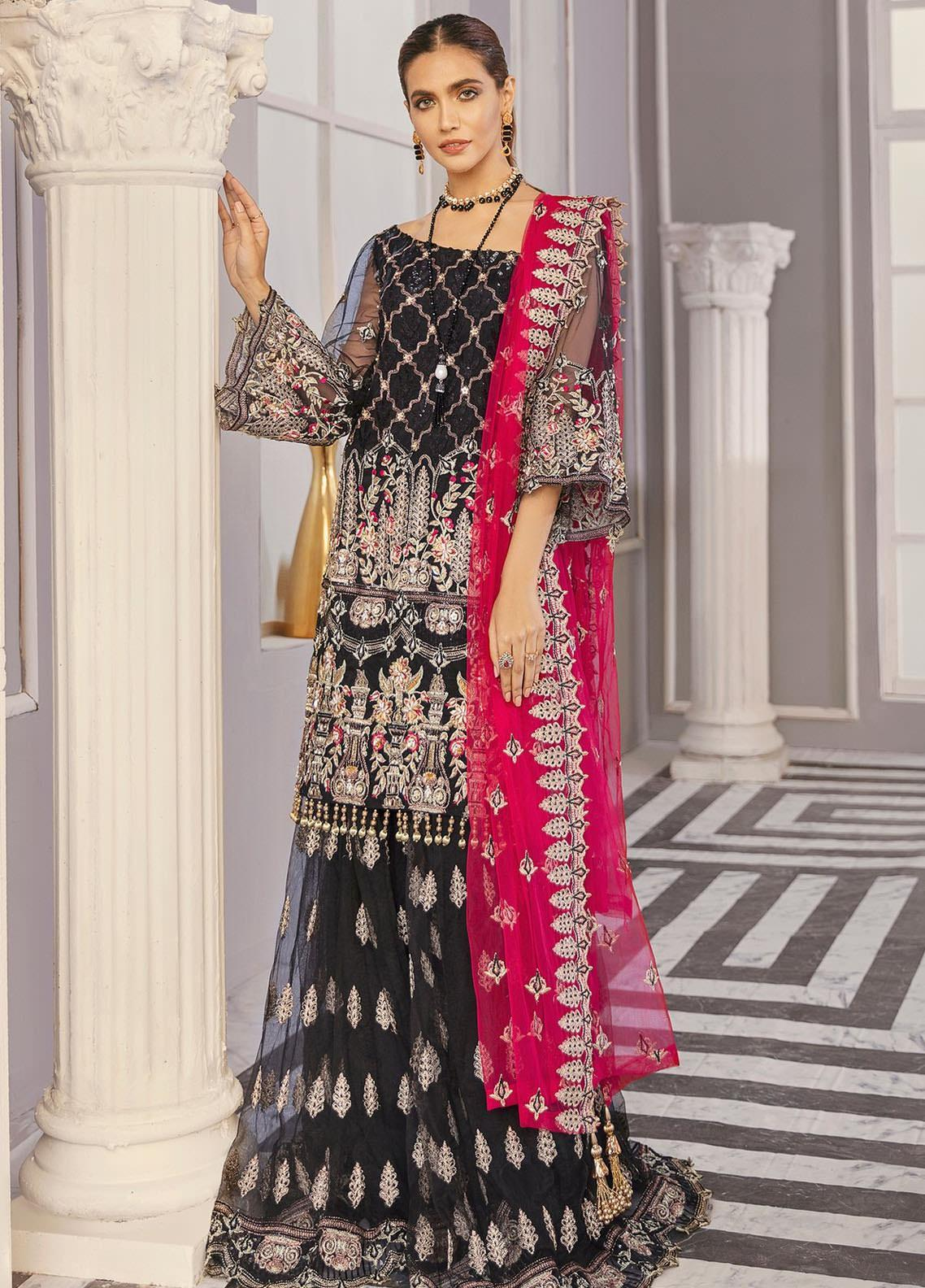 Akbar Aslam Embroidered Net Unstitched 3 Piece Suit AA21F AAWC-1342 - Formal Luxury Collection