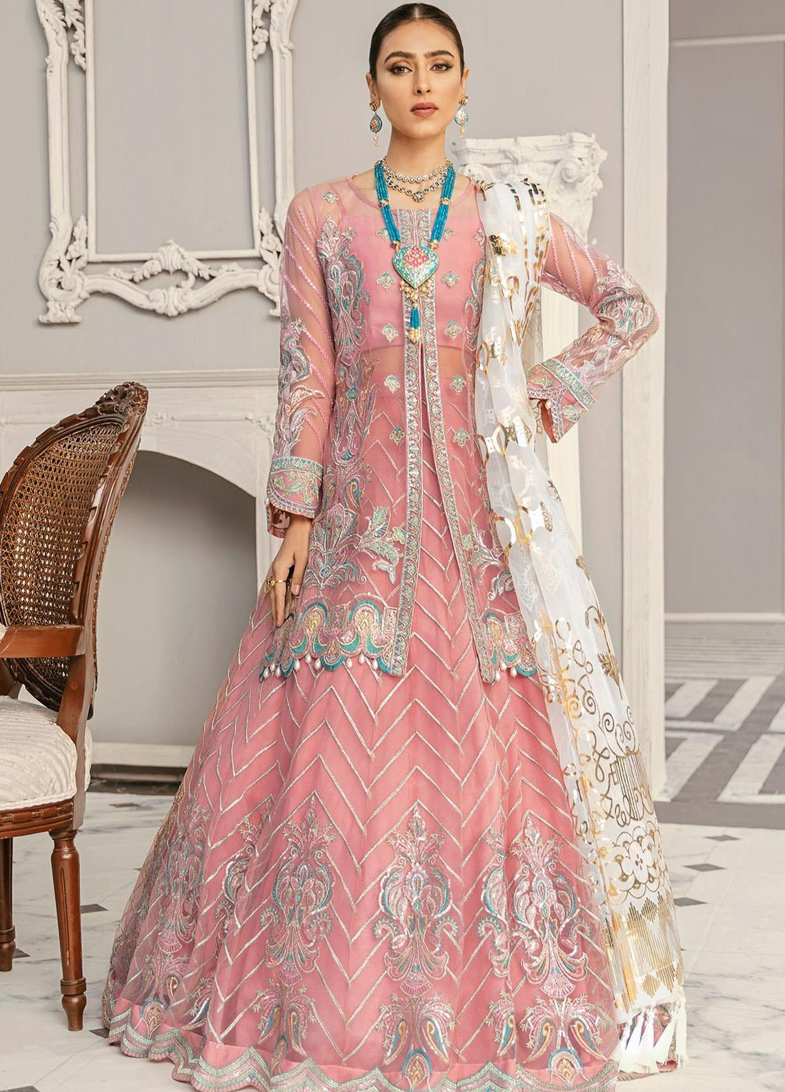 Akbar Aslam Embroidered Net Unstitched 3 Piece Suit AA21F AAWC-1345 - Formal Luxury Collection
