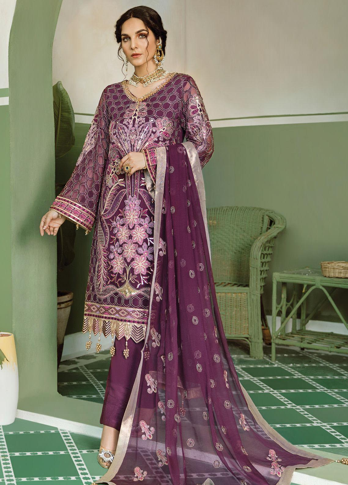 Akbar Aslam Embroidered Chiffon Unstitched 3 Piece Suit AA20WD 2301 - Wedding Collection