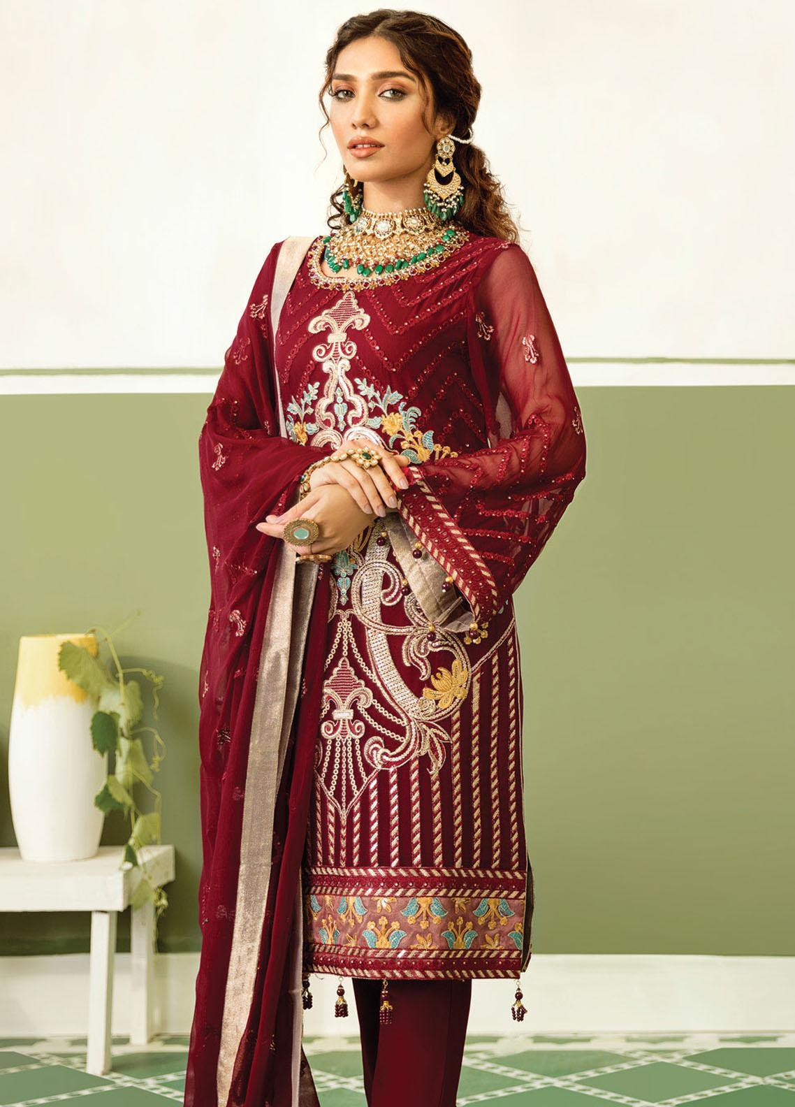 Akbar Aslam Embroidered Chiffon Unstitched 3 Piece Suit AA20WD 2304 - Wedding Collection