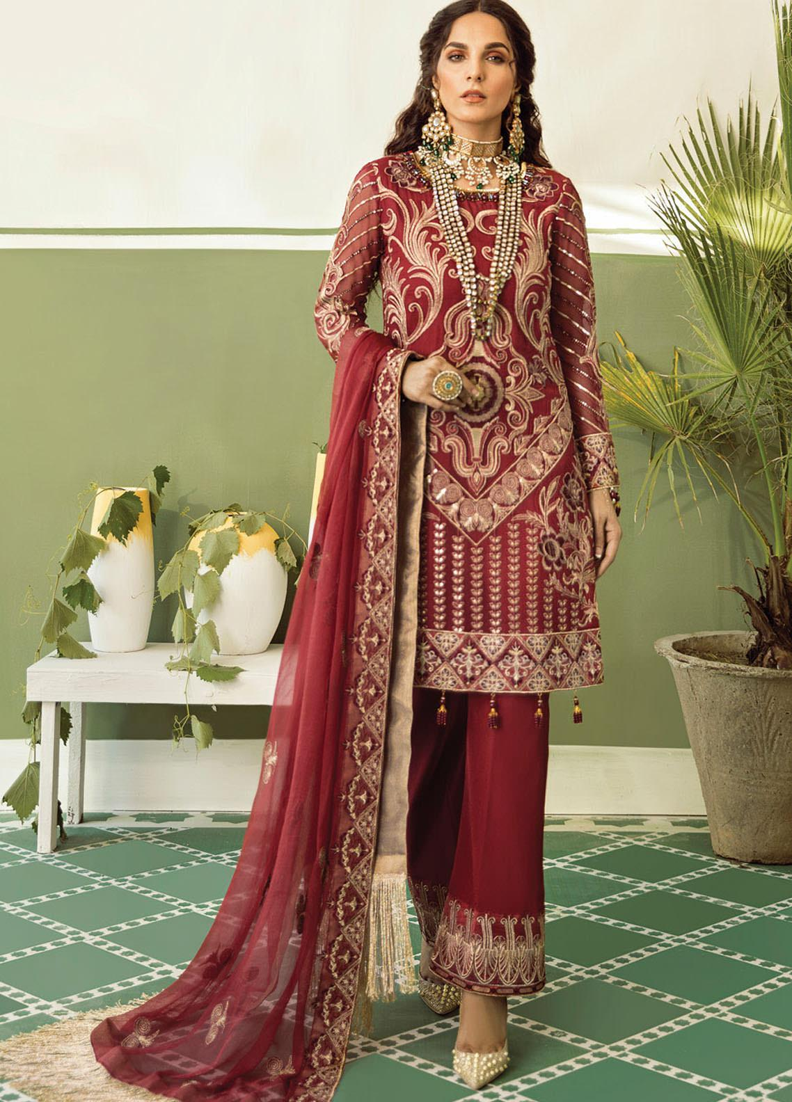 Akbar Aslam Embroidered Chiffon Unstitched 3 Piece Suit AA20WD 2309 - Wedding Collection