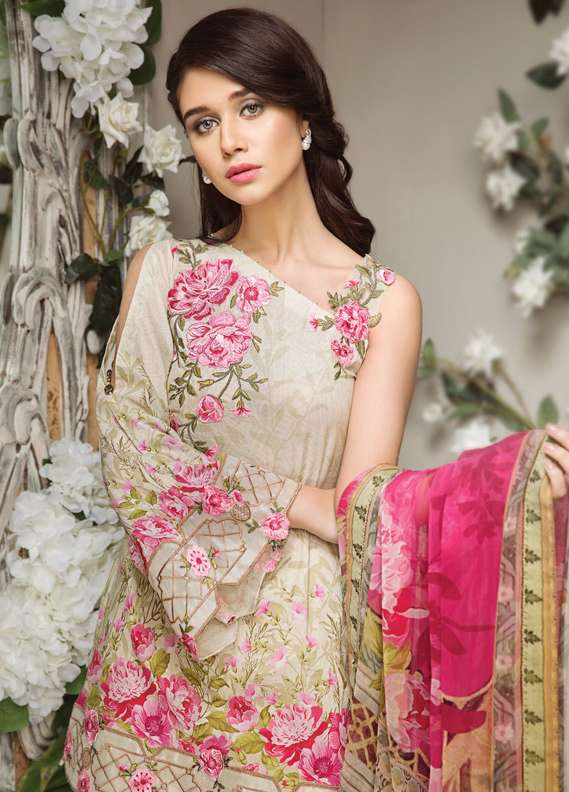 Anaya by Kiran Chaudhry Embroidered Lawn Unstitched 3 Piece Suit AKC18L 09 - Spring / Summer Collection