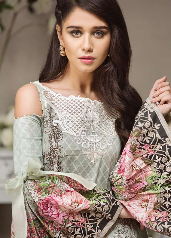 Anaya by Kiran Chaudhry Embroidered Lawn Unstitched 3 Piece Suit AKC18L 12 - Spring / Summer Collection