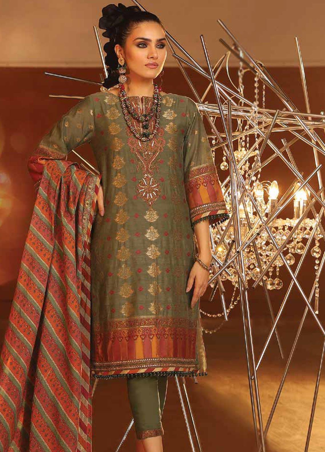 Al Karam Embroidered Jacquard Unstitched 3 Piece Suit AK20F-02A SAGE - Festive Collection