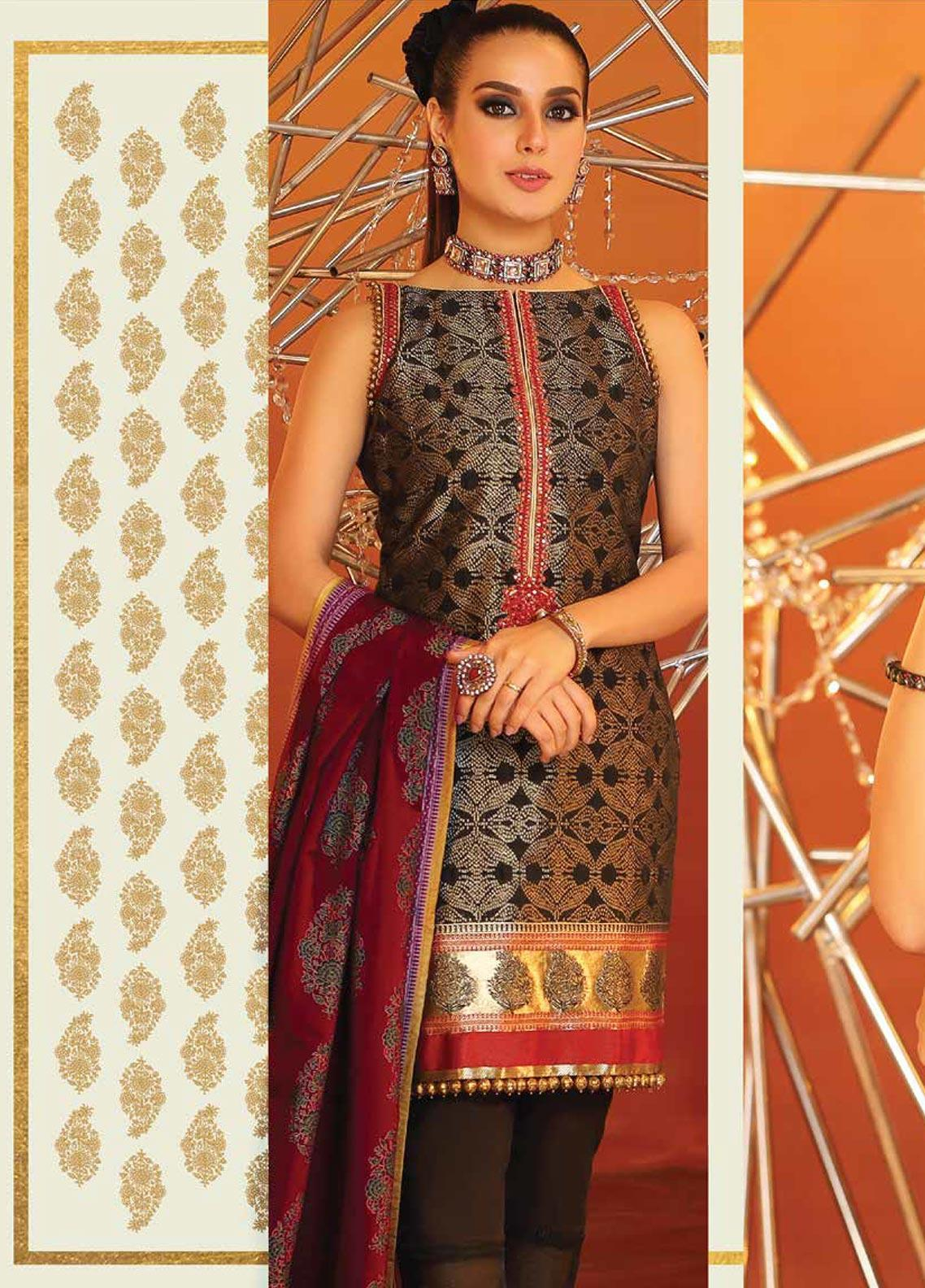 Al Karam Embroidered Jacquard Unstitched 3 Piece Suit AK20F-05B BLACK - Festive Collection