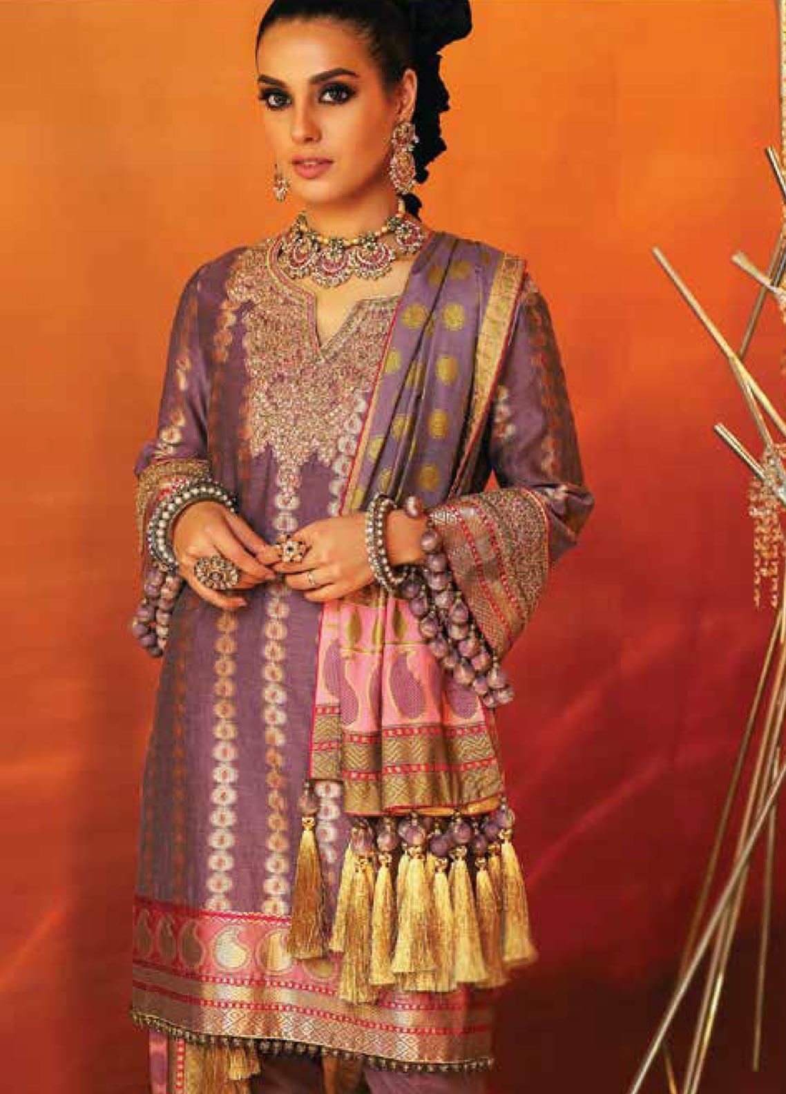 Al Karam Embroidered Jacquard Unstitched 3 Piece Suit AK20F-06B PURPLE - Festive Collection