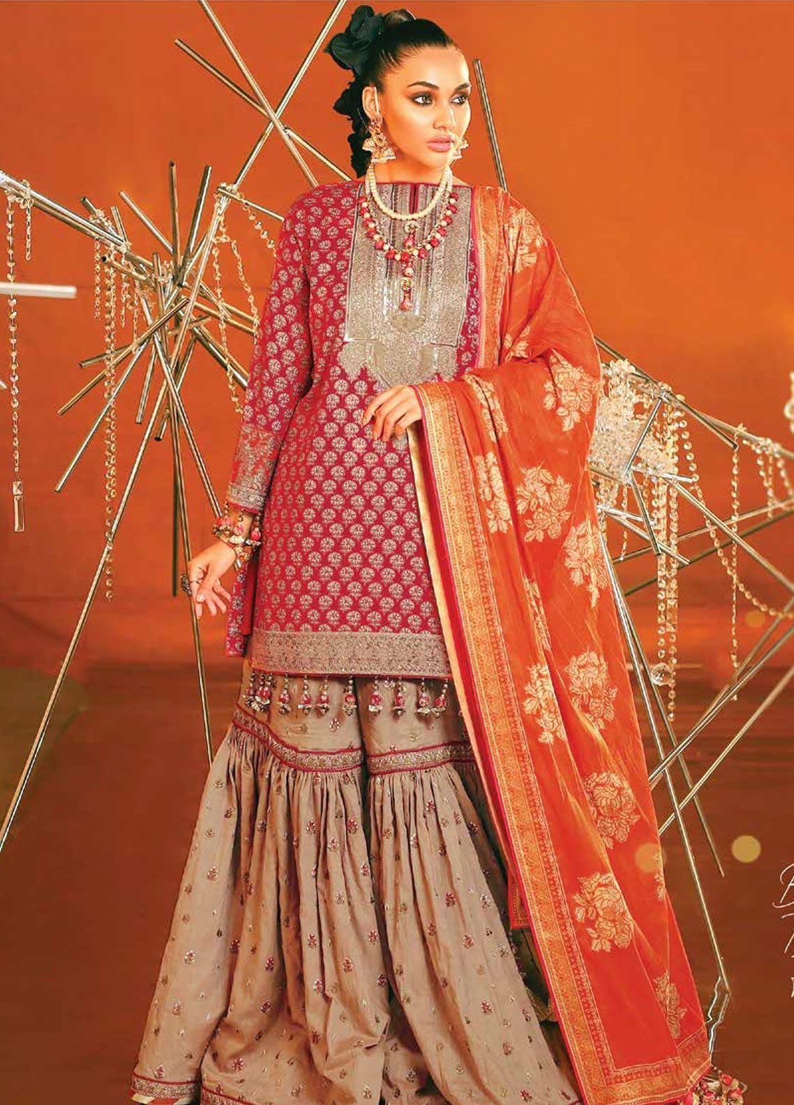 Al Karam Embroidered Broschia Unstitched 2 Piece Suit AK20F-07C PINK - Festive Collection