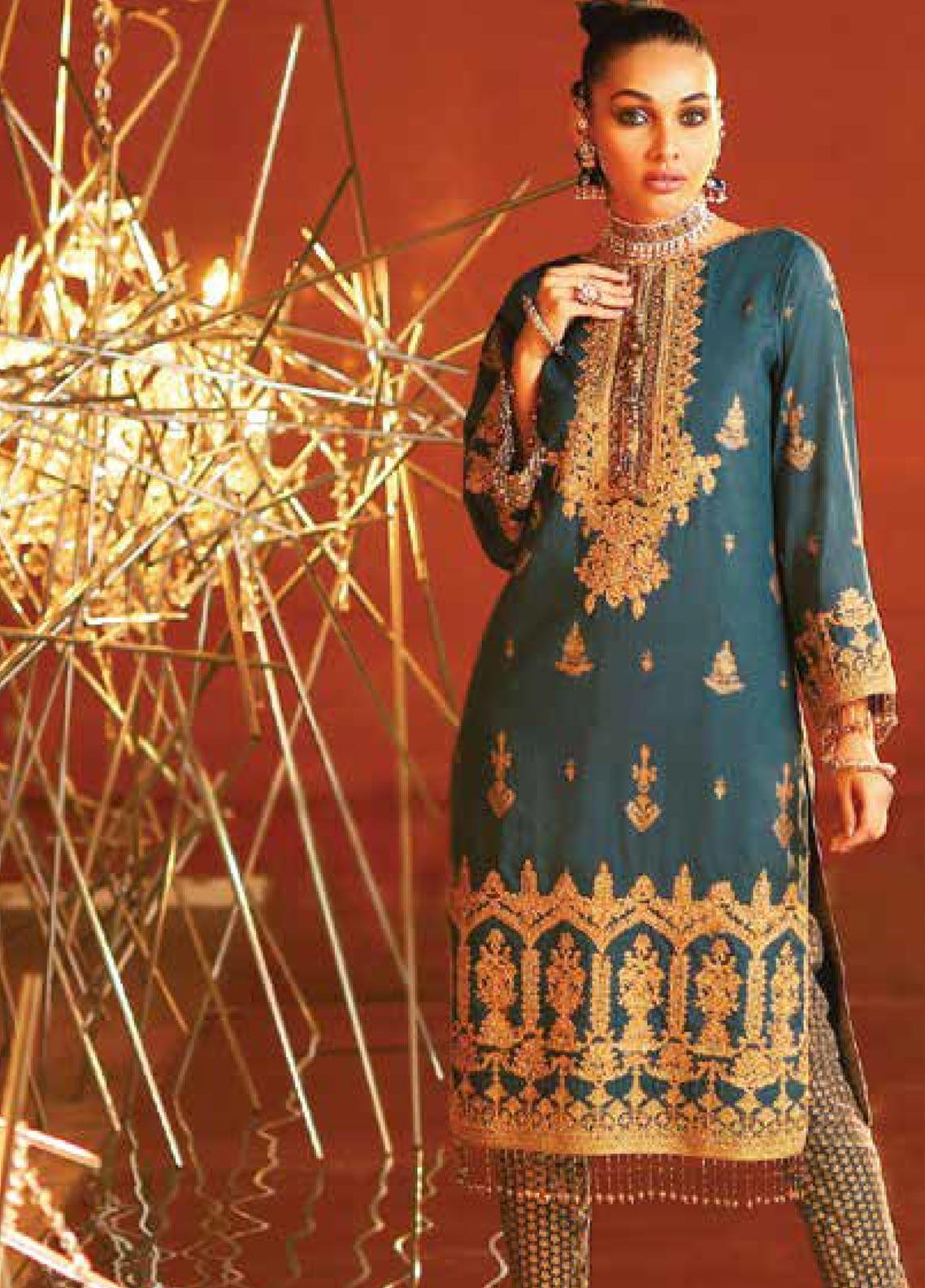 Al Karam Embroidered Lawn Unstitched 2 Piece Suit AK20F-16G DARK BLUE - Festive Collection