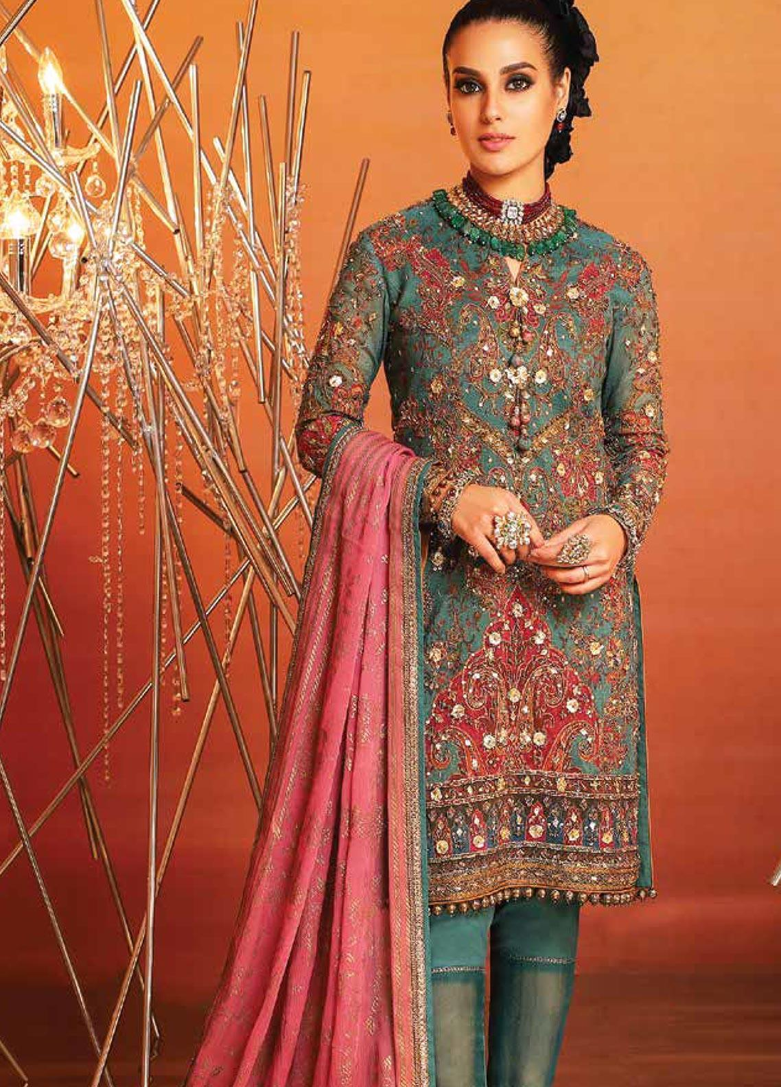Al Karam Embroidered Cotton Net Unstitched 3 Piece Suit AK20F-21J GREEN - Festive Collection