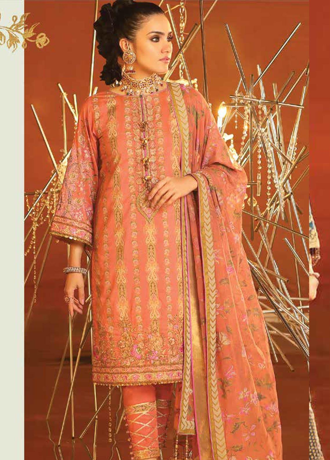 Al Karam Embroidered Cotton Silk Unstitched 3 Piece Suit AK20F-24K CORAL - Festive Collection